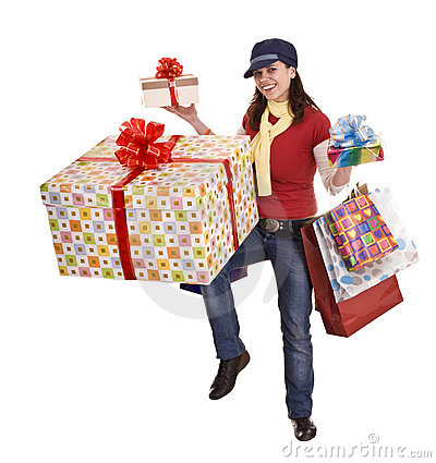 Woman with gift box and group bag.