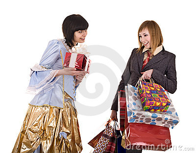 Two beautiful girlfriends enjoy shopping.