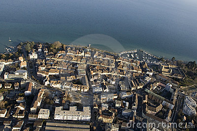 Aerial view of Morges, Switzerland