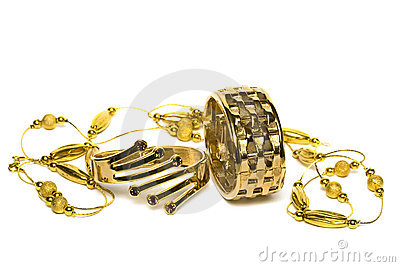 Golden bracelets with beads