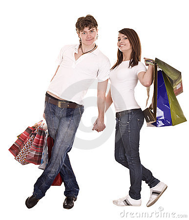 Couple in blue jeans shopping.