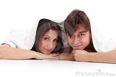 Happy young couple with towel