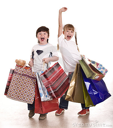 Boy and girl with shopping bag.