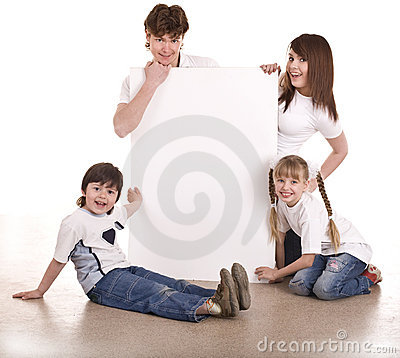 Happy family with white banner.