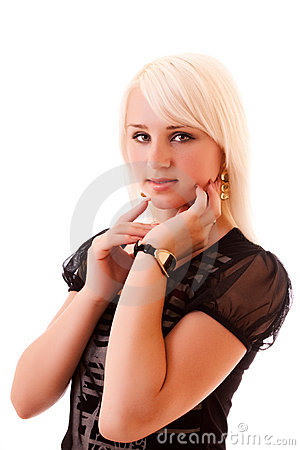 Young woman posing isolated