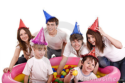 Happy family, birthday of children.