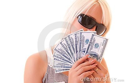Hundreds of dollars on young woman background