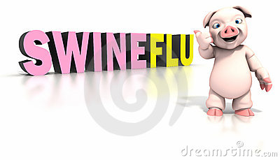 Pig standing in front of swine flu text