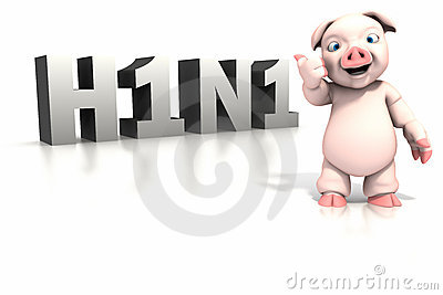 Pig standing in front of H1N1 text