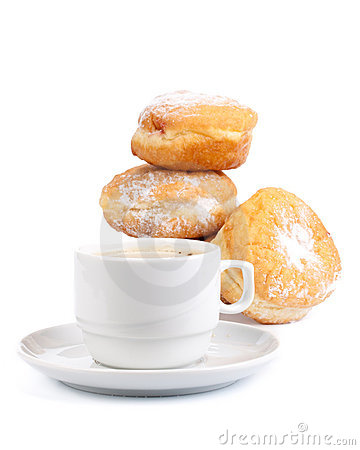 Sweet donuts and cup of black coffee
