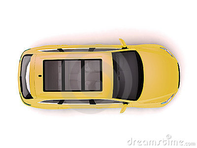 Yellow SUV top view