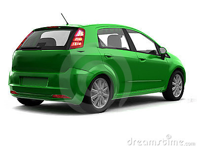 Hatchback green car back view