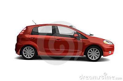 Hatchback red car side view