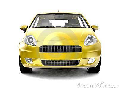 Compact yellow car front view
