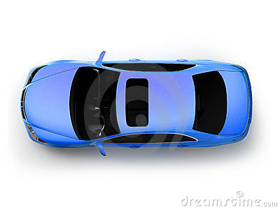 Isolated blue modern car top view