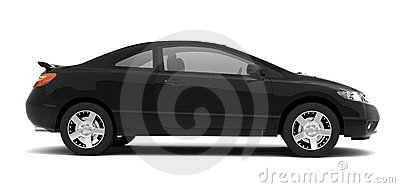 Compact black car side view