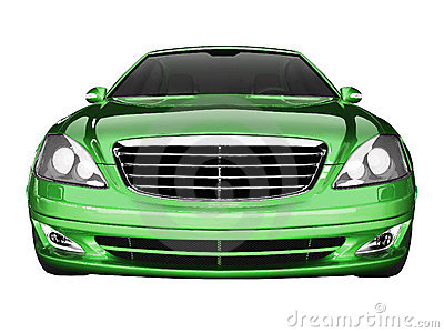 Premium class green car front view