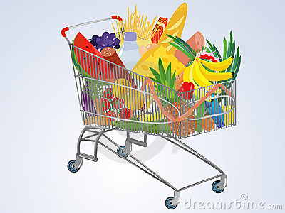 Vector full supermarket cart