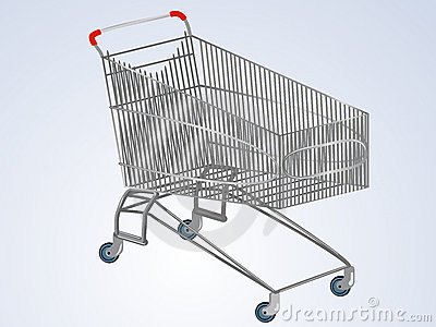 Vector empty supermarket cart