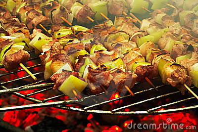 Grilled meat on a barbecue