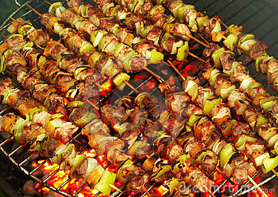 Roasting meat on a barbecue