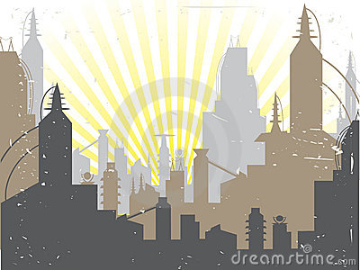 Scifi Grunge City sun rising Vector Background