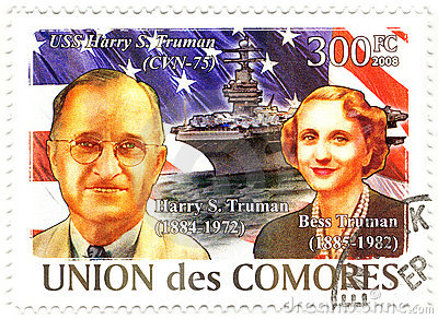 Stamp with Harry Truman and his wife Bess