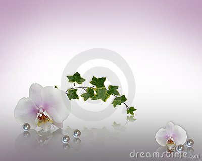 Orchids and pearls Wedding Invitation