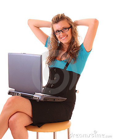 Young happy office woman with laptop isolated