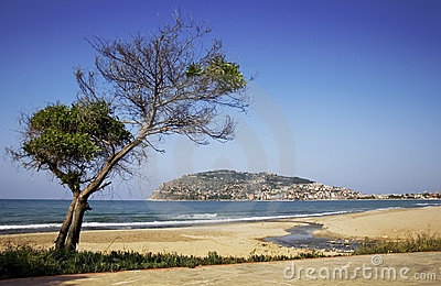 Alanya peninsula view from beach