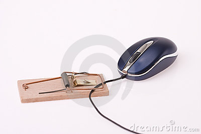 Computer mouse in mousetrap