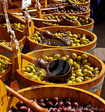 Olives in barrells.