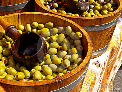 Olives in barrells ready to sell.
