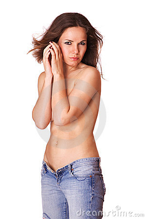Cute young girl in blue jeans topless isolated