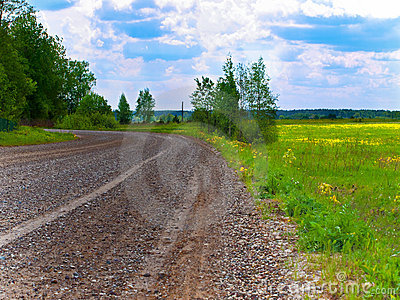 Wet gravel road