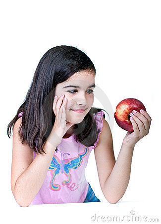 Young girl with red apple