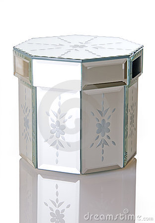 Mirror Octagon Shaped Jewelry Box On White Backgro