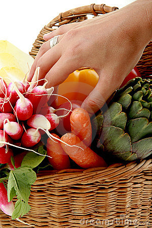Hand in a basket of vegetables
