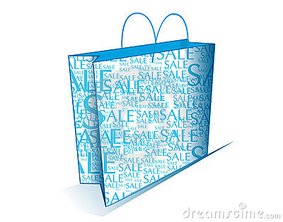 Blue shopping bag with sale text