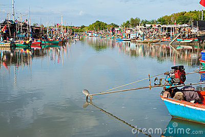 Fisherman village in middle of Thailand