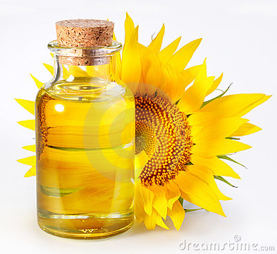 Bottle with sunflower