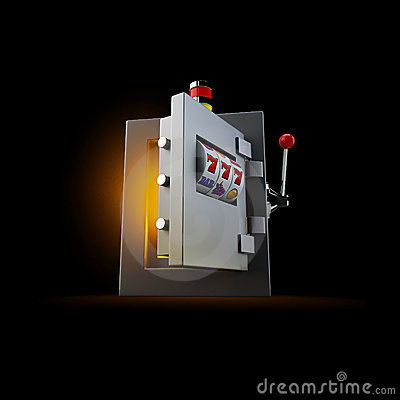 Slot machine openning door of the safe