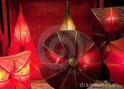 Glowing silk lamps