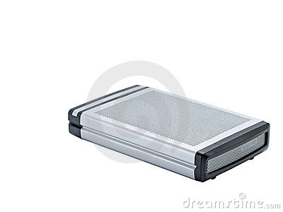 External hard disk isolated on white background