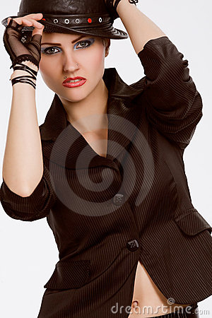 Young fashionable model with black hat
