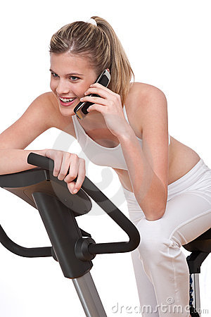 Fitness series - Woman with mobile phone