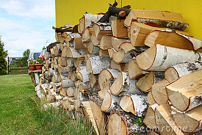Stacked winter logs for heating