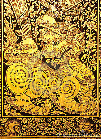 Lion in traditional Thai style painting