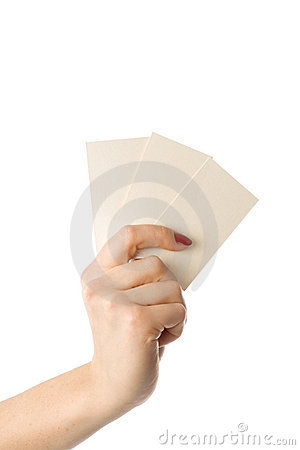 Woman's hand with  three  business cards