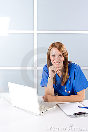 Nurse thinking in a modern office